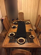 Dining Table & chairs (hardwood/smoked glass inserts) in Fort Lewis, Washington