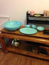 7 Piece Melmac Dinner Ware Blue Turquoise set in Sacramento, California
