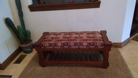 Southwestern-style Cloth Upholstered, Padded Wooden Bench in Chicago, Illinois