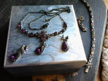 Necklace and earrings dark purple stones in Alamogordo, New Mexico
