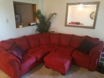 Red suede sectional couch w/ chair & ottoman in Travis AFB, California