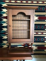 Vintage Solid Wood Hanging Cabinet with Wire Front in Indianapolis, Indiana