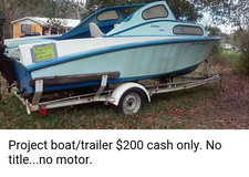 Project boat/trailer. No title, no motor in Fort Polk, Louisiana