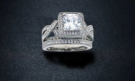 ***BRAND NEW***Princess-Cut Cubic Zirconia Bridal Ring Set***SZ 7 in The Woodlands, Texas