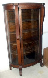 Vintage Bow Front Curio Cabinet with Curved Glass in Fort Benning, Georgia
