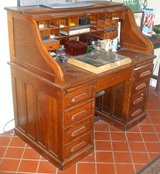 Vintage Oak Roll Top Desk with Chair in Fort Benning, Georgia