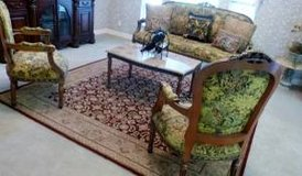 FRENCH Louis XVI Designer 4pc Furniture Set: 6-legged Settee, 2 Arm Chairs, Marble Cocktail Tabl... in Katy, Texas