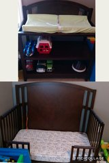 crib, mattress, & baby changing table in Fort Benning, Georgia
