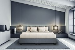 BRAND NEW! DESIGNER GREY LINEN QUEEN PLATFORM BEDFRAME / NO HEADBOARD in Camp Pendleton, California