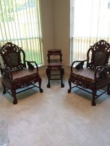 3-Piece Set Chinese Carved Solid Rosewood Marble Back Armchairs with Matching & Marble Tiered Table in Kingwood, Texas