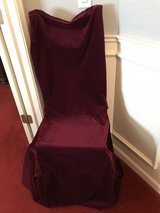 4 bergundy chair covers in Joliet, Illinois