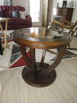 2 round end tables with glass insert in Conroe, Texas
