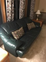 Leather couch and loveseat in fabulous green in Orland Park, Illinois