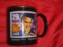 vintage 1992 Elvis Presley U.S. postage stamp black mug in The Woodlands, Texas