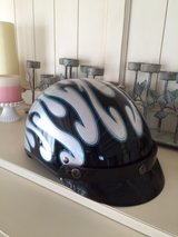 Fulmer motorcycle helmet silver with blue/black flames in Yucca Valley, California