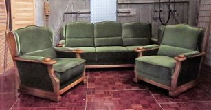 Solid Oak and Green Velour Couch Set All on Wheels in Ramstein, Germany