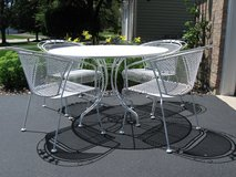 4 White Vintage Wrought Iron Chairs & Table Set#1-Woodard?/Meadowcraft in Lockport, Illinois