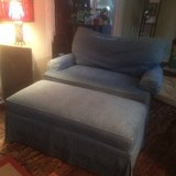 Oversized Blue Loveseat and Ottoman in Wilmington, North Carolina