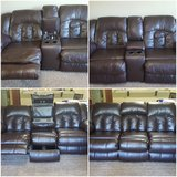 LEATHER RECLINABLE COUCH & LOVE SEAT in Fort Bragg, North Carolina