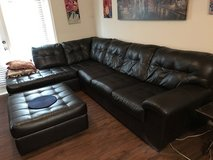 Black Leather Sectional Couch in Summerville, South Carolina