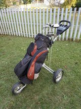 Golden Bear Golf clubs with bag and push cart in Byron, Georgia