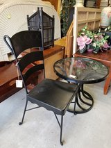 Black Iron Glass topped Table & Chair in Camp Lejeune, North Carolina