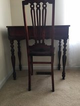 Antique wood desk and chair in Yorkville, Illinois
