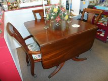 MAHOGANY DROP LEAF TABLE AND 4 CHAIRS ON CASTERS in Cherry Point, North Carolina