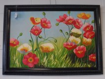 FRAMED OIL CANVAS PAINTING - FLOWERS in Cherry Point, North Carolina