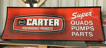 Vintage Automotive Carter Performance Parts  Display sign in Yucca Valley, California