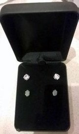 Set of CZ and Jade sterling silver earrings with box, New in St. Charles, Illinois