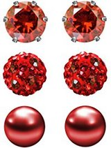 3 pair .6 mm stud red earrings (Valen'ts Day gift) in Fort Campbell, Kentucky