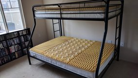 Metal Frame Bunk Bed w/ Mattresses & Mattress Foam Tops, Twin over Full - Ready for Pick Up! in Temecula, California