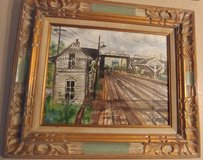 Old West Hinsdale train depot painting in Joliet, Illinois