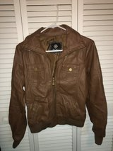 brown fake leather bomber jacket in Beaufort, South Carolina