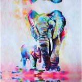 Mother and baby elephant canvas painting in Perry, Georgia