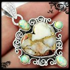 New - Heart Copper White Turquoise and White Fire Opal 925 Sterling Silver Pendant (Includes a c... in Alamogordo, New Mexico