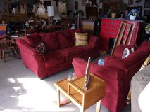 Two Piece Red Micro-Fiber Sofa and Loveseat Set in Fort Riley, Kansas