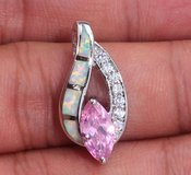 New - Pink Topaz, White Fire Opal and White Zircon Pendant (Includes a chain) in Alamogordo, New Mexico