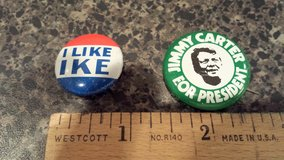 Presidential election pins in St. Charles, Illinois