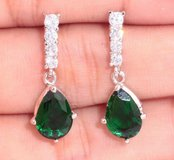 New - Green Emerald Quartz and White Zircon Earrings in Alamogordo, New Mexico