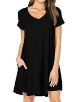 Casual Short Sleeve V-neck T-shirt Dress with Pocket in Fort Campbell, Kentucky