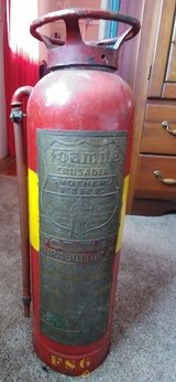 Old copper fire extinguisher in Lockport, Illinois