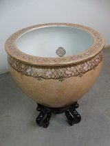 Oriental Planter Vase with Wooden Stand in Pearland, Texas