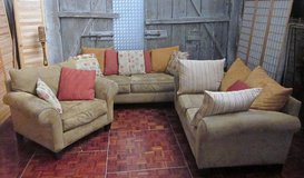 3 Piece Beige Couch Set with Pillows in Ramstein, Germany