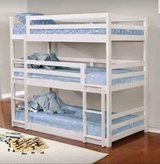 WHITE TRIPLE BUNK BED FREE DELIVERY in Huntington Beach, California