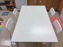 IKEA Dining Table (Expandable) with Four Chairs in Okinawa, Japan
