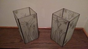 Pair of Metal-Framed Crate and Barrel Glass Candle Holders / Flower Vases / Home Decor in Joliet, Illinois