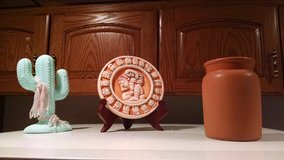 Southwestern Accents: Pottery Vase, Ceramic Plaque with Wooden Stand, Ceramic Cactus in Joliet, Illinois