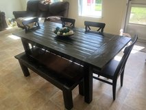 Large farm house handmade expression dining kitchen table seats 6-7 bench chairs in Oceanside, California
